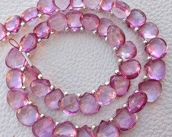 Brand New, AAA Quality Flawless Mystic PINK TOPAZ Faceted Heart Shape Briolettes,9-10mm size,Great Price Rare Item.