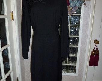 Vintage 40s Black Crepe Dress Long Sleeve Satin Floral Bead Applique Asymmetric Peplum Skirt L Large