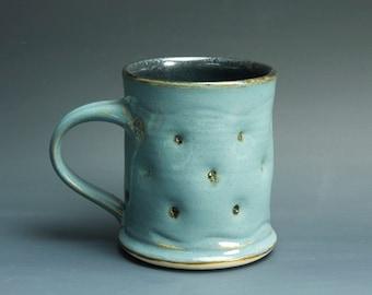 Sale - Handmade pottery coffee mug teacup glossy medium blue 14 oz 3297
