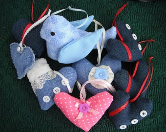 Denim Heart Ornament / Home Accent  / Home decor / Upcycled fabric / Hearts / Heart Ornament