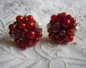 Vintage Red, White and Rhinestone Glass and Lucite Clip On Earrings from Japan