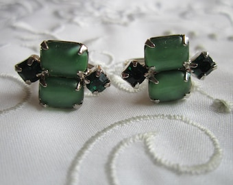 Vintage Silver Tone Screw Backed Earrings with Frosted Green Glass and Green Faceted Rhinestones