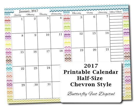 Blank Calendar Half Page : Sale half size printable calendar chevron design