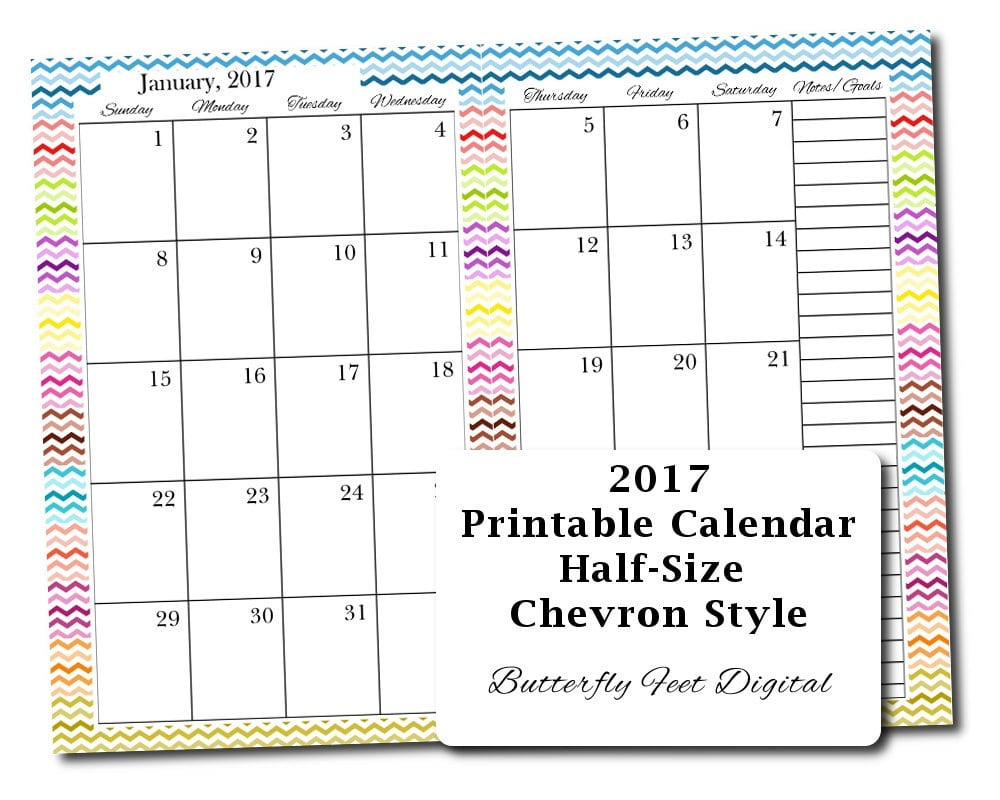 Sale 2017 half size printable calendar chevron design for 120 day calendar template