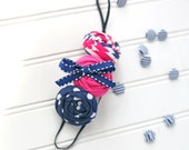 Pretty Prep- navy and hot pink double rosette headband