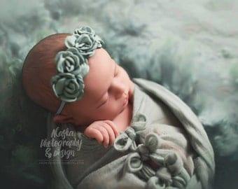 Mountainview Morning ~ seafoam dusty mint singed satin rose rosette flower headband halo crown