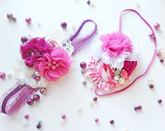 Forever Friends headband -plum berry purple chiffon and rosette M2M friends forever bow