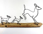 Doe with Fawns Wire Sculpture, Deer Sculpture, Wildlife Art, Minimal Sculpture, Wire Folk Art, 262837549