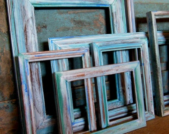 Picture Frame Gallery Water Color Collection Turquoise Blues Greens Set of 8
