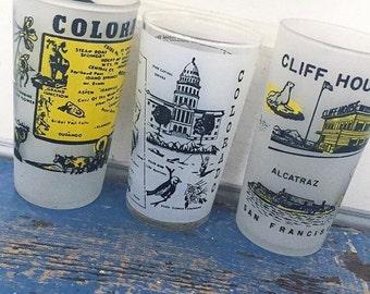 Vintage Souvenir State Glass, COLORADO or CALIFORNIA Souvenir Glass, Alcatraz, San Francisco, Frosted Glass, Vintage Drinking Glass, Choice