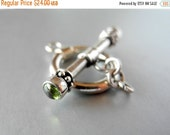 ON SALE Bali Sterling Silver Peridot Toggle Clasp Oxidized Silver 17mm