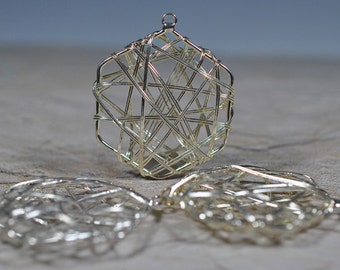 Silver plated six-sided wire wrapped drops, 40mm - #534