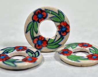 Painted ceramic pendant, multi-color, not drilled, design on both sides, 26mm, #666