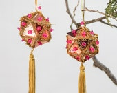 Set of 2  Hand Beaded Ornament - Ornaments 1960s - Gold With Pink Beads Christmas Ornament - Shiny - Retro Holiday Ornament