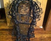 Vintage light wrought iron yellow glass ornate hanging