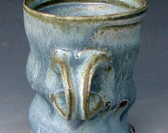 RUSTIC BLUE MUG - Blue Coffee Mug - Stoneware Mug - Ceramic Coffee Mug - Studio Pottery
