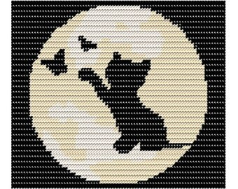 Plastic Canvas Kitty Playing in the Light of the Moon Wall Hanging Instant Download