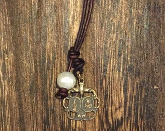 vintage Scapular Medal necklace