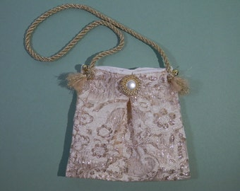 5 x 6 Mini Neck Purse Gold & Cream Color Brocaded Metallic Fabric Dress Up Dance Party Bag Essential Cosmetic Mad Money Small OOAK Gift Idea