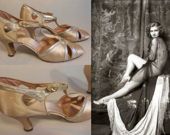 Her Long Legs Attract - Vintage 1930s Champagne Silk Satin & Silver Wedding Evening Open Vamp High Heels Pumps Shoes -
