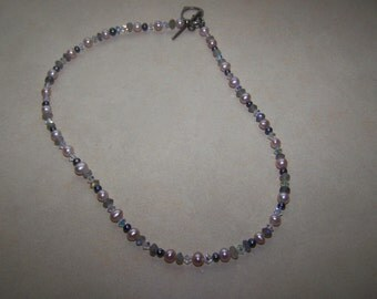 Sterling Silver Faceted Crystal Real Pearl Bead Necklace