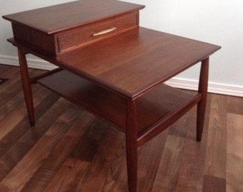 Side Table, End Table, Mid Century Solid Teak Wanut Wood