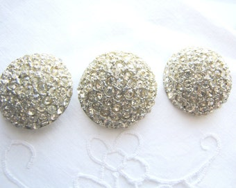 Vintage Rhinestone Buttons Round Dome 1960s from AllieEtCie