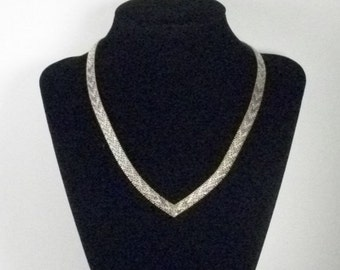 Tri Color V Neck Silver Necklace Marked Italy 925 Woven Look Smooth and Flexable