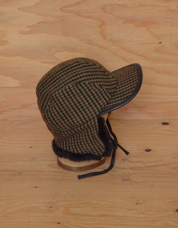 Vintage 70's Tweed Plaid Houndstooth Tan & Brown Fur Trappers Hat SZ Small