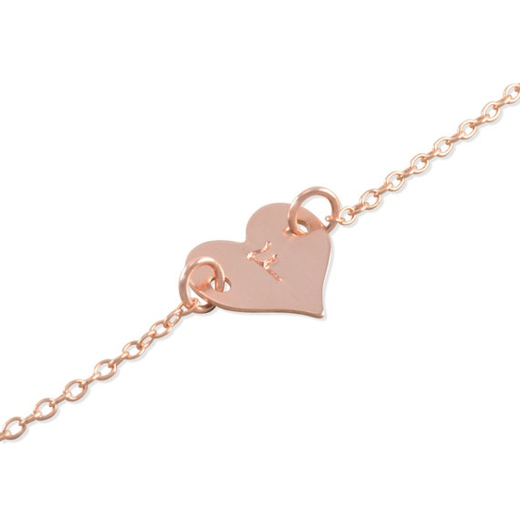Rose Gold Baby Bracelet Heart yellow gold sterling silver
