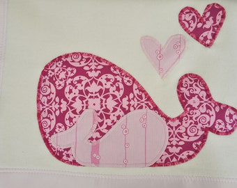 Organic Baby Blanket with Whales -- Pink -- Free Personalization