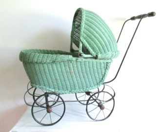 Vintage GREEN DOLL BUGGY 1900's 1910 1920's Pram Stroller Baby Wicker Sculpture
