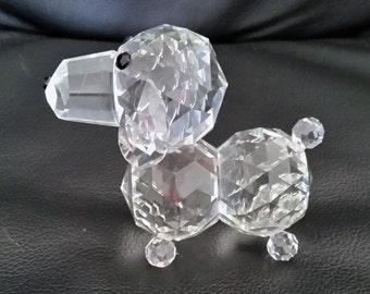 Vintage Crystal Dog Figurine