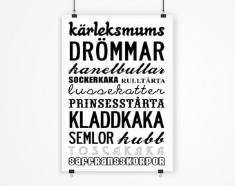 Best of Sweden -  traditional treats/sweets and cookies. Large A2 42x59.4 cm, luxury poster print.