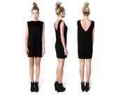 Black V Neck Dress - Mini Dress - Tshirt Dress - Little Black Dress - Black Tunic