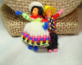 1960s Bolivian Hand Woven Man and Women Pin.