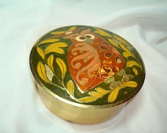 1970s Brass Cloisonné Owl Box.