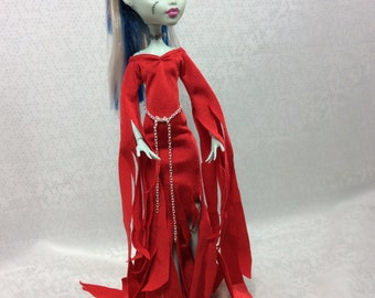Like Morticia in red Gown Designed for Your Monster High Doll