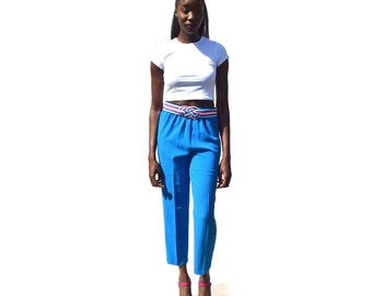 SALE!!!!!!!!!!! Cerulean blue elastic waist high waist high rise granny pants 1990s 90s VINTAGE