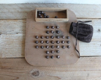 Antique Primitive Board Game // Aggravation // Marble Game // Wood Marbles
