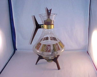 Mid Century Modern Glass Coffee Server with Candle Warming Stand