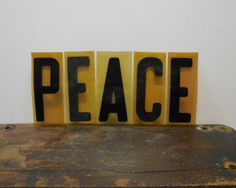 Vintage letters PEACE word industrial Gas station sign salvage Red letters 7 inch