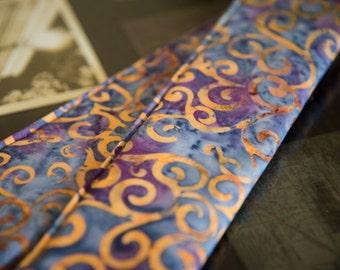 DSLR Camera Strap Cover in Purple & Gold Swirl Batik