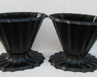 Pair of Black Plastic Halloween Vases, Bat Wings, Spider's Web