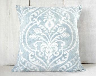 Decorative Pillow - Faded  Denim Blue Damask Pillow Cover - Soft Blue - French Farmhouse Cottage - Paris Chic Apartment
