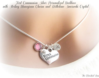 Personalized First Communion Heart Charm Necklace with Sterling Monogram Charm and Birthstone Crystal