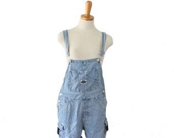 30% off sale // Vintage 90s RVT Denim Jean Overalls Shortalls Jumper // Women S M
