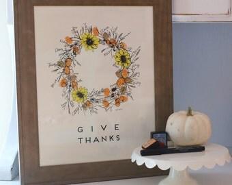 Thumbprint Guest Book, Fingerprint Wreath, Thanksgiving Wreath, Give Thanks, Limited release, like fingerprint tree(w/ 2 mini inks + 1 pen)