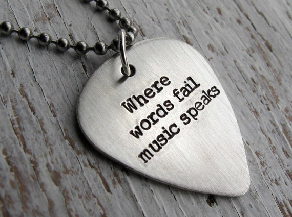 Personalized Guitar Pick Necklace, DOUBLE SIDED, Father's Gift,  Hand Stamped, Sterling Silver, Where words fail music speaks