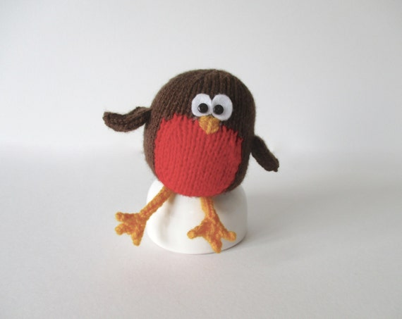 Jolly Robin Christmas toy knitting pattern by fluffandfuzz on Etsy